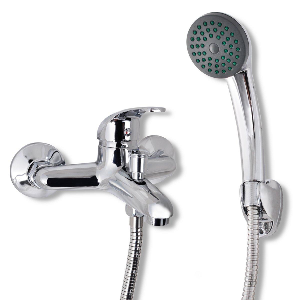 vidaXL Badewannenarmatur mit Handbrause Chrom 1, 5m Einhebelmischer Wasserhahn