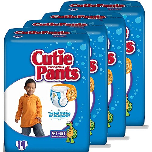 Cutie Pants Training Pants for Toddler Boys, Size 4T-5T, 19-Count (Pack of 4)
