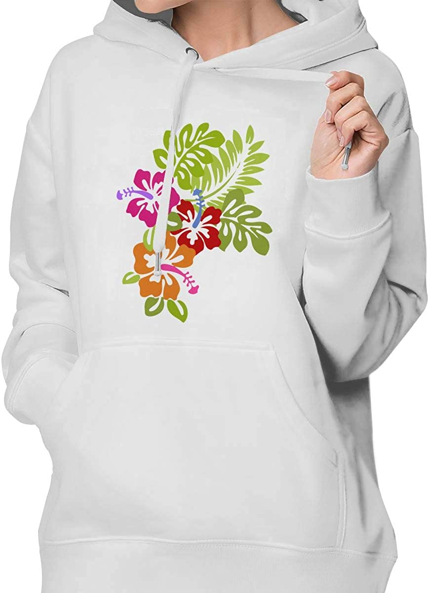 FASHION#CC Womens Pullover Hoodie Coat with Pockets Tropical Hibiscus Flowers