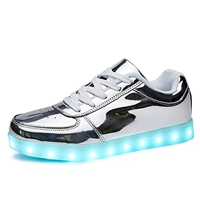 981f8781ab2a4 Sanyes USB Charging Light Up Shoes Sports LED Shoes Dancing Sneakers  SYDB551-Silver-37