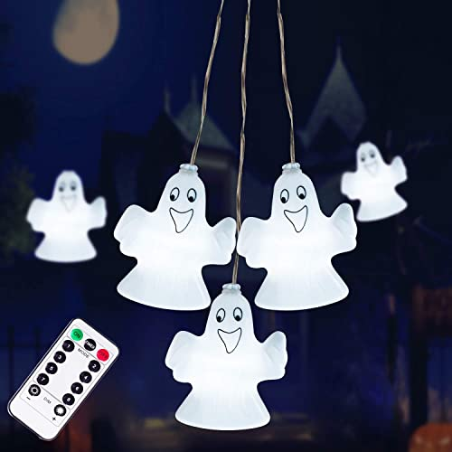 Halloween Decorations Lights, 30LED Spooky Ghost String Lights Battery Operated with Remote Control Perfect for Indoor Outdoor Halloween Party, Haunted House Creating Horror Decoration Large