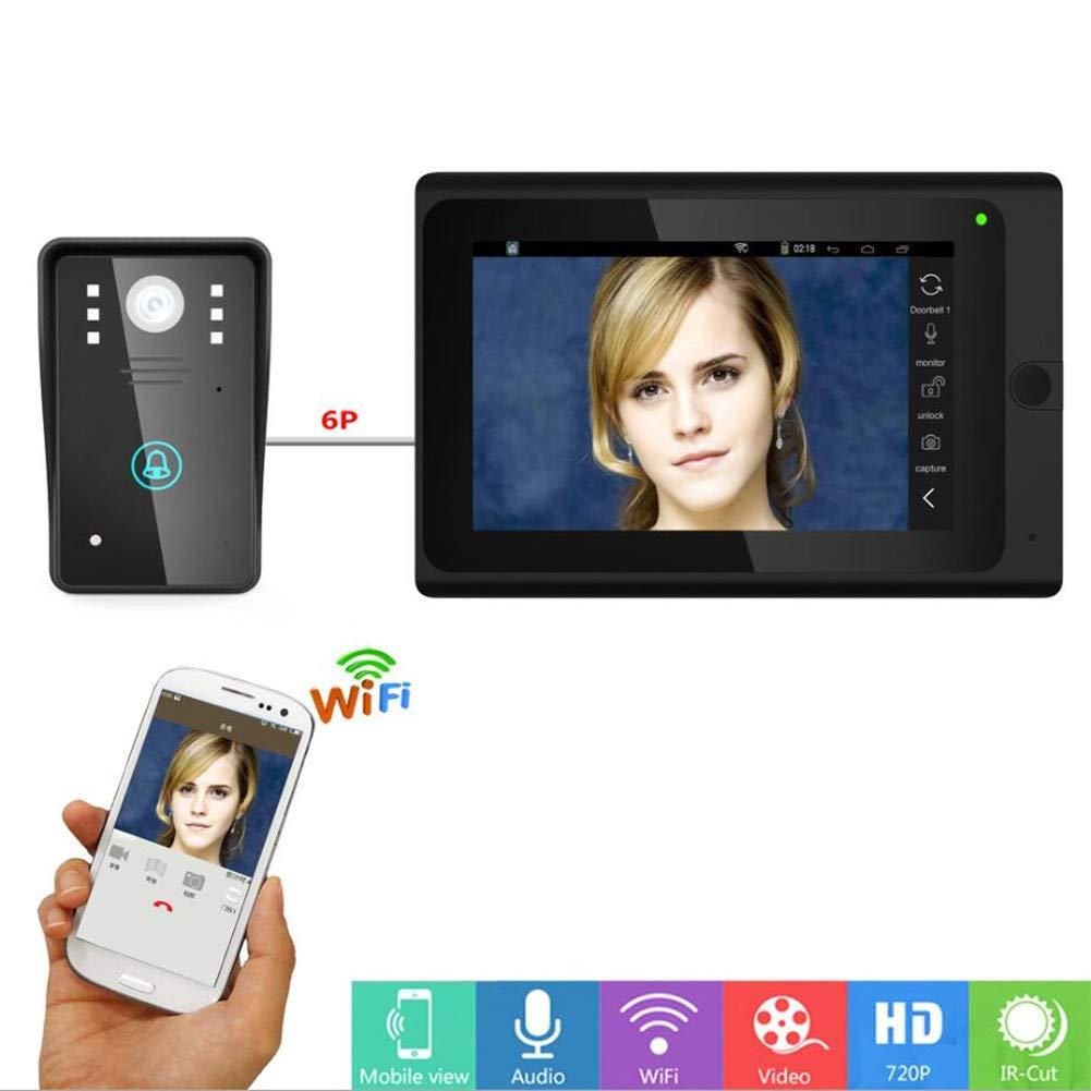 Video Türsprechanlage Intercom Türklingel 7 Zoll Verdrahtete Video Türklingel 1 Kamera 1 Monitor Mit WiFi APP Remote Beantwortet