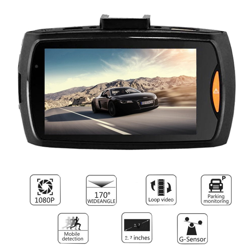 16GB Card UNITOPSCI 5558991479 Dual Dash Cam Backup Camera with FHD 1080P Resolution 2.7LCD Screen Night Vision Safety Parking Monitor and 140 Degree Dashboard Cam 170 Degree Waterproof Rear View Camera