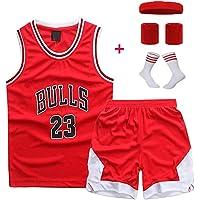 # 23 Trapeze Jordan Bull Conjunto de uniforme de baloncesto para niños Chaleco a juego + Shorts Retro Rojo Traje de entrenamiento de secado rápido Sudadera Boy Holiday Gift (Juego de cuatro piezas g