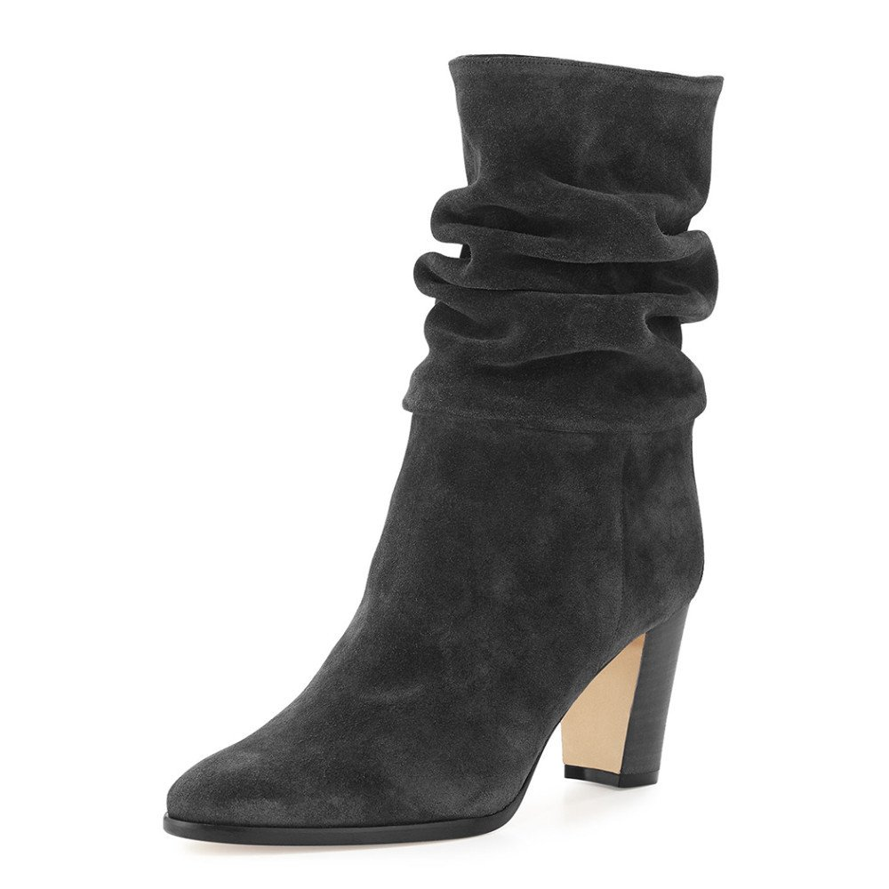 DYF Schuhe Schuhe Schuhe kurze Stiefel Farbe scharf Rauh High Heel Scrub Martin Grau 34 904feb
