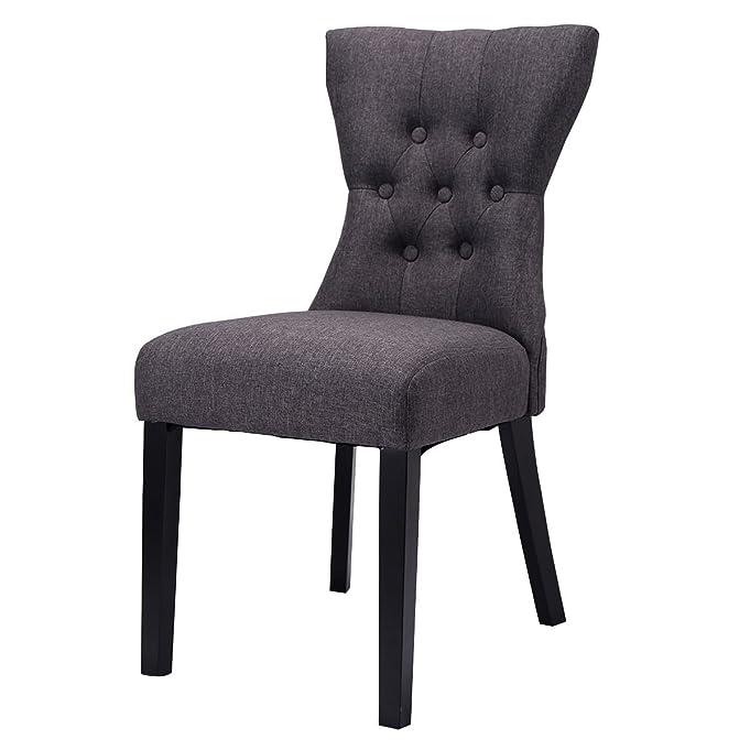 Amazon.com   Giantex 2PCS Dining Chair Modern Elegant Chair Home Kitchen  Living Room Furniture (Gray)   Chairs