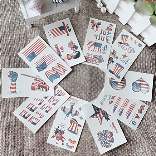 24PCS/Pack American Independence Day Tattoo Stickers Patriotic Tattoos Labels USA Flag Face Stickers for 4th of July Independence Day Party - Label Patriotic