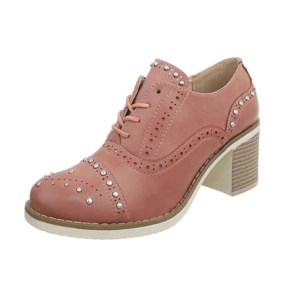 Ital-Design Zapatos para Mujer Zapatos de Tacon Mini Tacón Tacones con Cordones