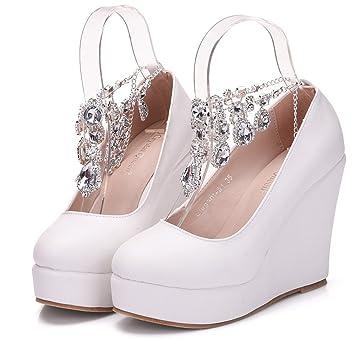 ce32c6db122b88 Damen Brautschuhe  Weiße Hochzeitsschuhe Bequeme Strass High Heels Pearl  Silk Lace  Kristall