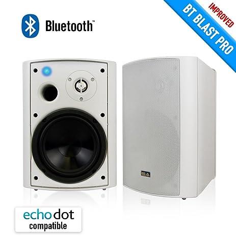 Wireless Outdoor Speakers, Bluetooth 6.50u0026quot; Indoor/Outdoor Weatherproof Patio  Speakers,White,