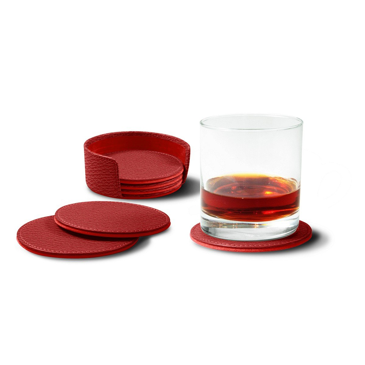 Lucrin - Set of 6 Round Real Leather Coasters with Coaster Holder - Red - Granulated Leather