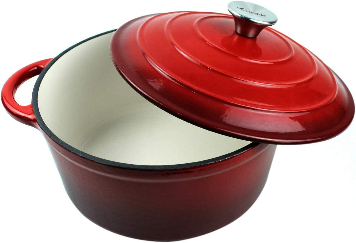 "Dutch Oven Enameled Cast Iron Pot with Dual Handle and Cover Casserole Dish - Round Red 10.23"" (26 cm)"