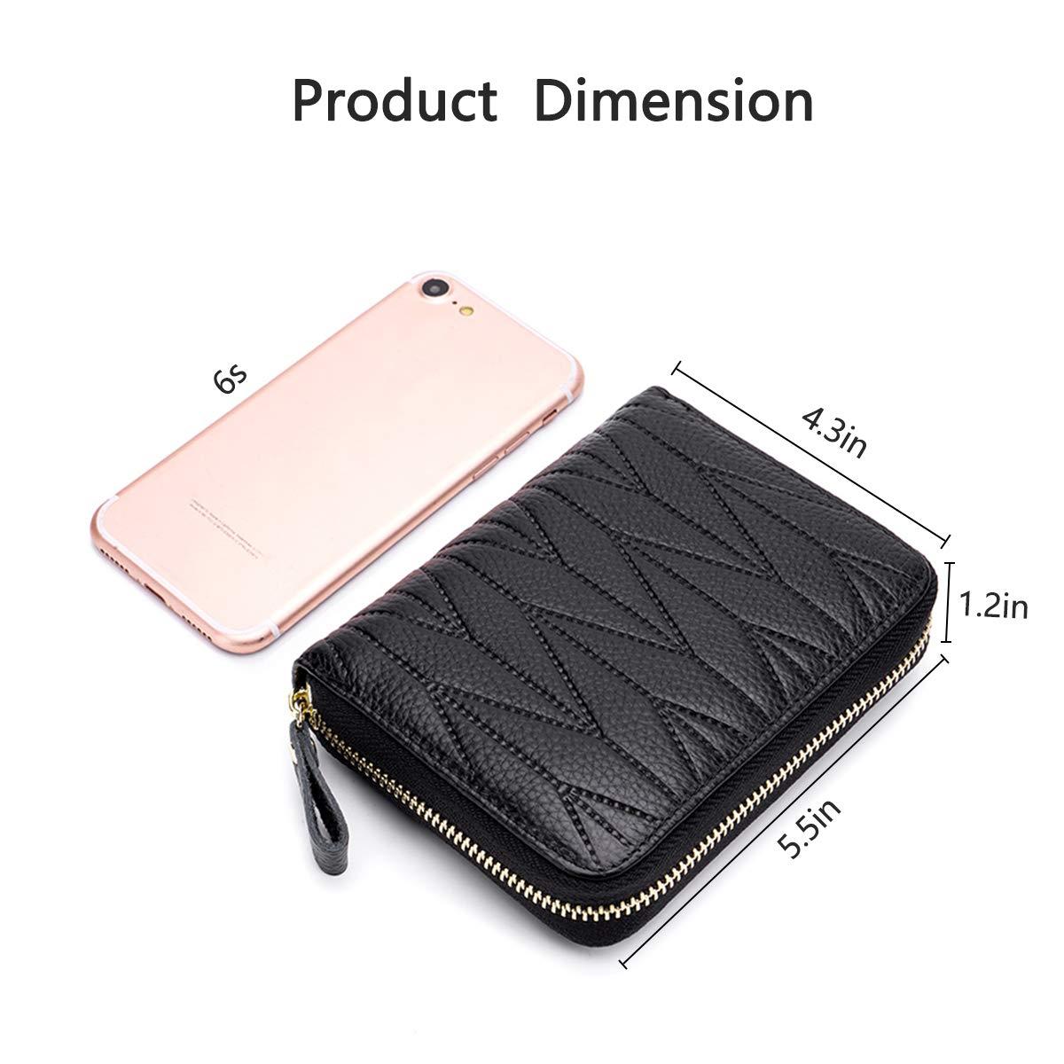 imeetu Women/men RFID Blocking Leather Credit Card Holder case Accordion Wallet 24 Slots Purses with Zipper Pocket(Wine Red) by imeetu (Image #7)