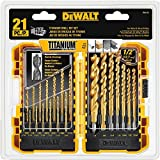 Tools & Hardware : DEWALT DW1361 Titanium Pilot Point Drill Bit Set, 21-Piece
