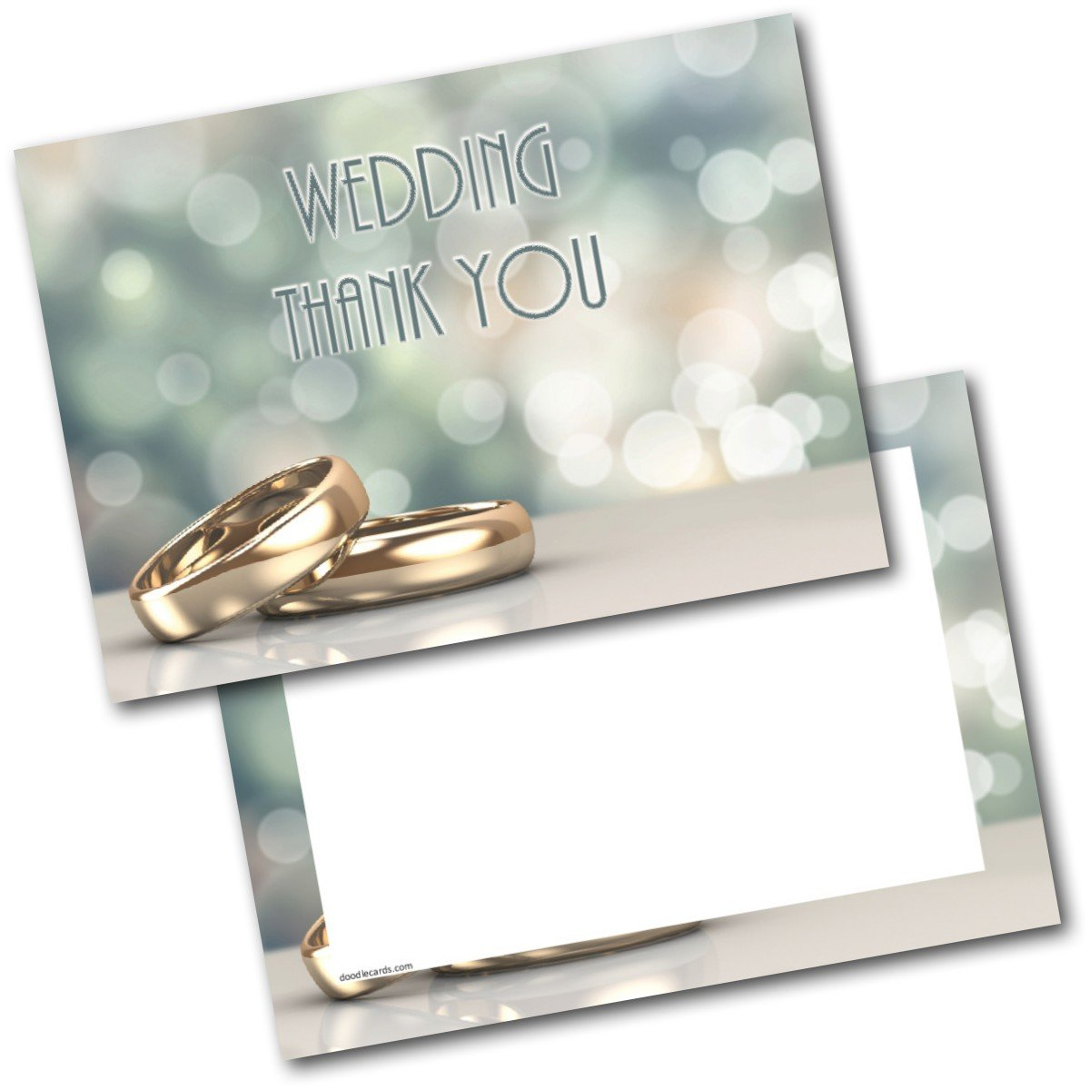 *NEW* Pack of 20 Thank You Wedding gift Two Rings Postcards Cards with Envelopes Doodlecards