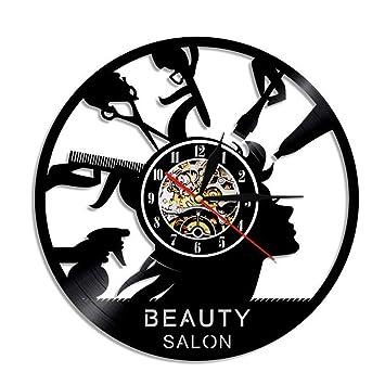 WANGXN Reloj De Pared De Vinilo Beauty Barber Shop Disco De Vinilo Reloj De Pared Beauty