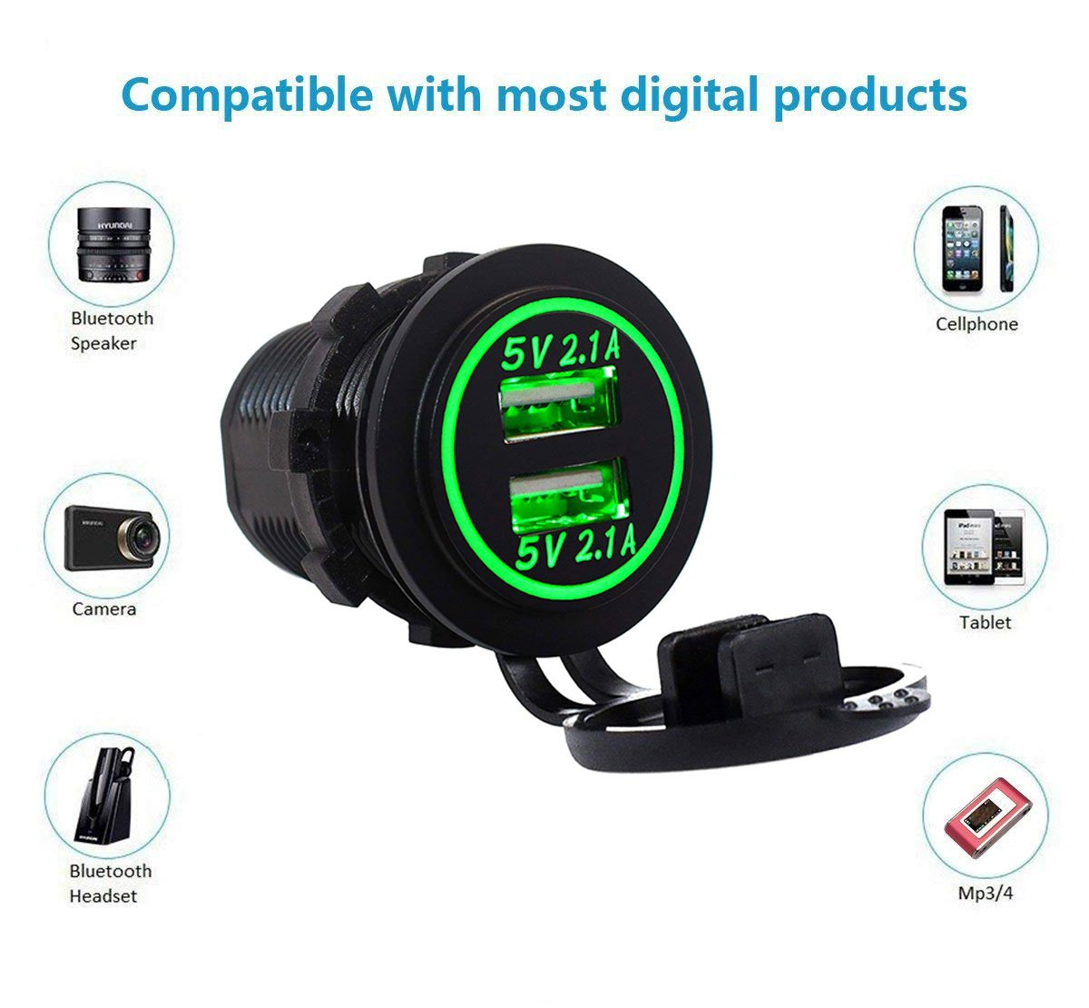 Red Dual USB 4.2A Charger Socket 12V//24V Waterproof Power Outlet with Touch Control Switch for Car Boat Marine Motorcycle Wire Fuse DIY Kit