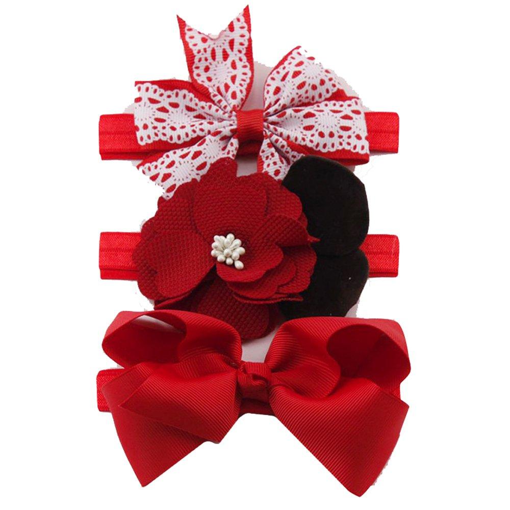 accesorios fotografía bebe, Sannysis Set de 3pcs lazos para el pelo, de grogrén, con clip de pinza, para niña pinzas de sólido lazo diadema pinza de pelo bebe Diadema de flores elásticas