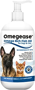 100% Pure Omega 3, 6 & 9 Fish Oil for Dogs and Cats. Relieves Scratching & Joint Pain. Improves Skin, Coat, Immune & Heart Health. All Natural Food Supplement Rich in EPA + DHA Fatty Acids Made in USA