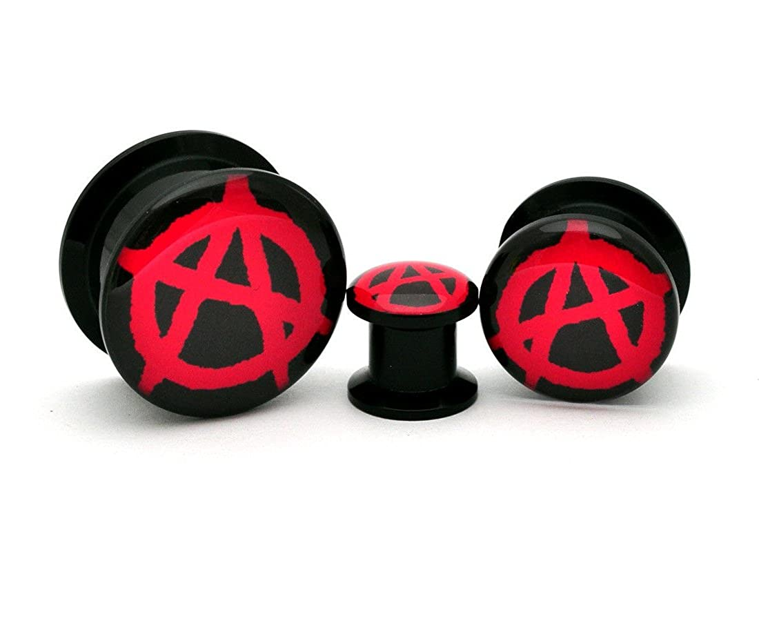 nugroho/_mys 0g 8mm Pair of Black Acrylic Anarchy Picture Plugs