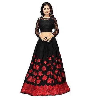 19f7bce98e3597 Nena Fashion Women's Satin Semi-stitched Lehenga Choli (Black and Red, Free  Size): Amazon.in: Clothing & Accessories