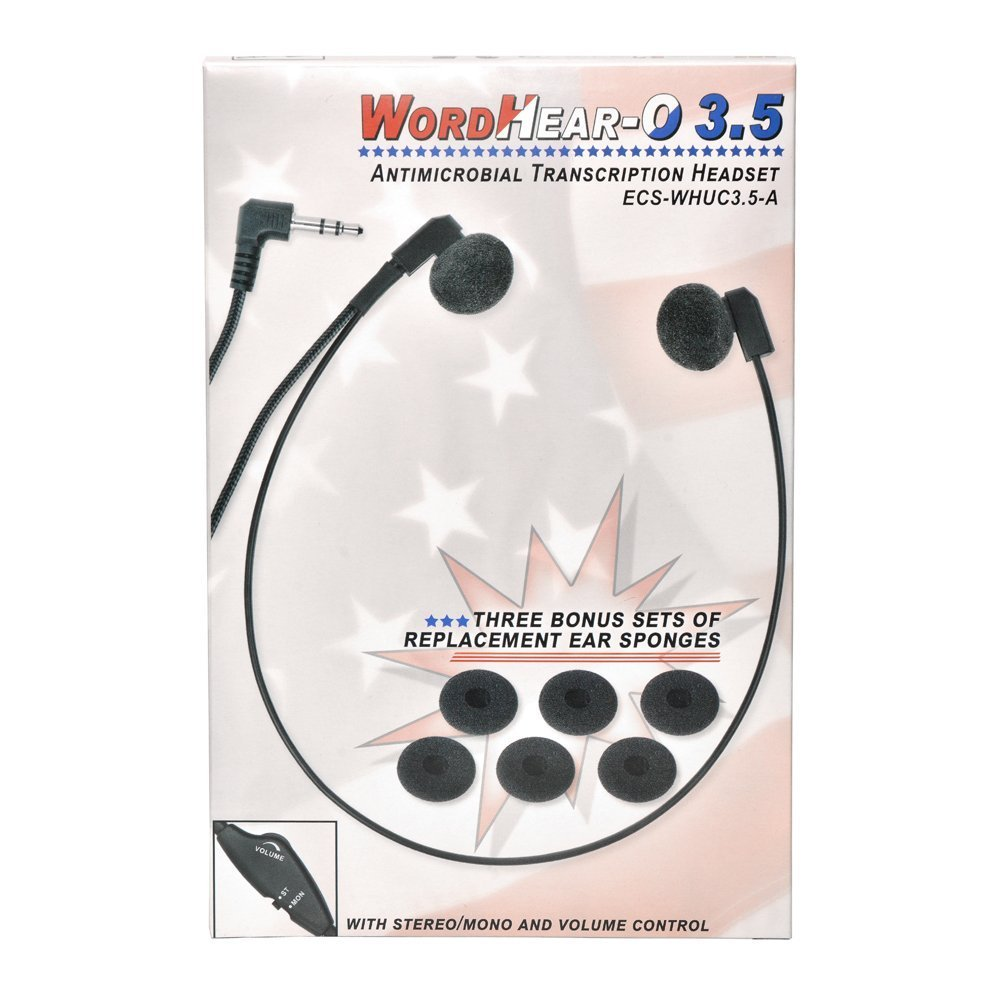 ECS WHUC3.5 Antimicrobial WordHear-O 3.5 mm Under-Chin Transcription Headset Executive Communication Systems ECS-WHUC3.5-A
