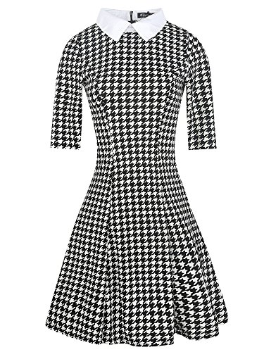 oxiuly Women's Long Sleeve Turn Down Collar Party Cocktail Casual A-Line Dress OX272 (M, Houndstooth 5)]()