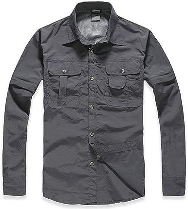Camisa de Manga Larga y Corta de Senderismo para Hombres de Secado Rápido Desmontable: Amazon.es: Ropa y accesorios