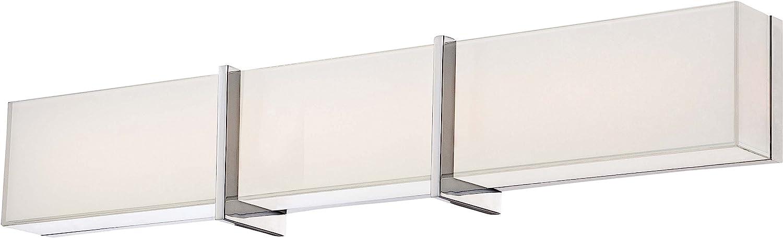 Minka Lavery Wall Sconce Lighting 2923-77-L High Rise Bath Glass Damp Bath Vanity Fixture, 1 Light LED, Chrome