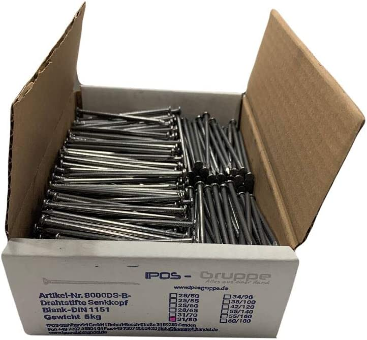 4,2 x 120 mm IPOS Drahtstifte Alle L/ängen N/ägel Senkkopf Senkkopfn/ägel Baun/ägel blank 5 kg