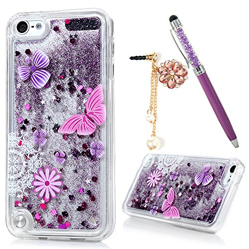 Price comparison product image Badalink iPod Touch 6 Case Flowing Liquid Floating Bling Glitter Sparkle Shockproof Drop Protection TPU Flexible Bumper Sim-Fit Fashion Painting Protective Cover for iPod Touch 6 - Pattern 3