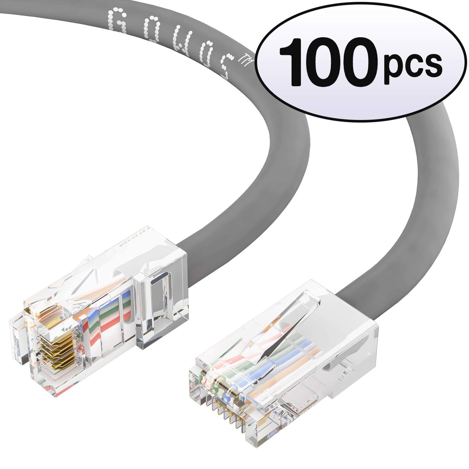 1Gigabit//Sec High Speed LAN Internet//Patch Cable 2-Pack - 2 Feet GOWOS Cat5e Ethernet Cable 24AWG Network Cable with Gold Plated RJ45 Non-Booted Connector Gray 350MHz
