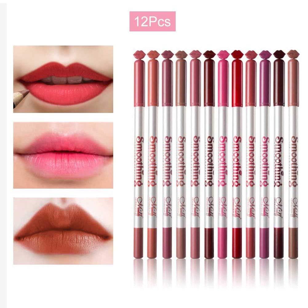 Ocamo Lip Liner Pencils 12 Pcs/set Waterproof Long Lasting Lipstick Lip Liner Matte Lipliner Pencil Pen