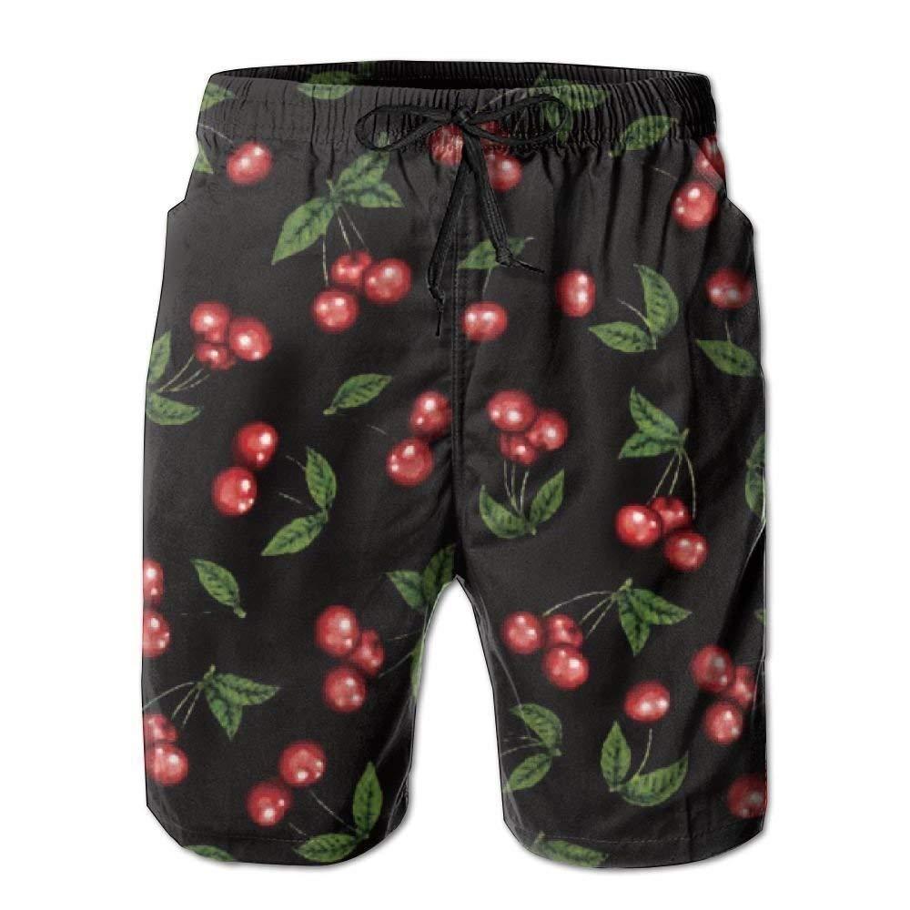 SINOVAL Cherries Mens Summer Casual Swimming Shorts Beach Board Shorts