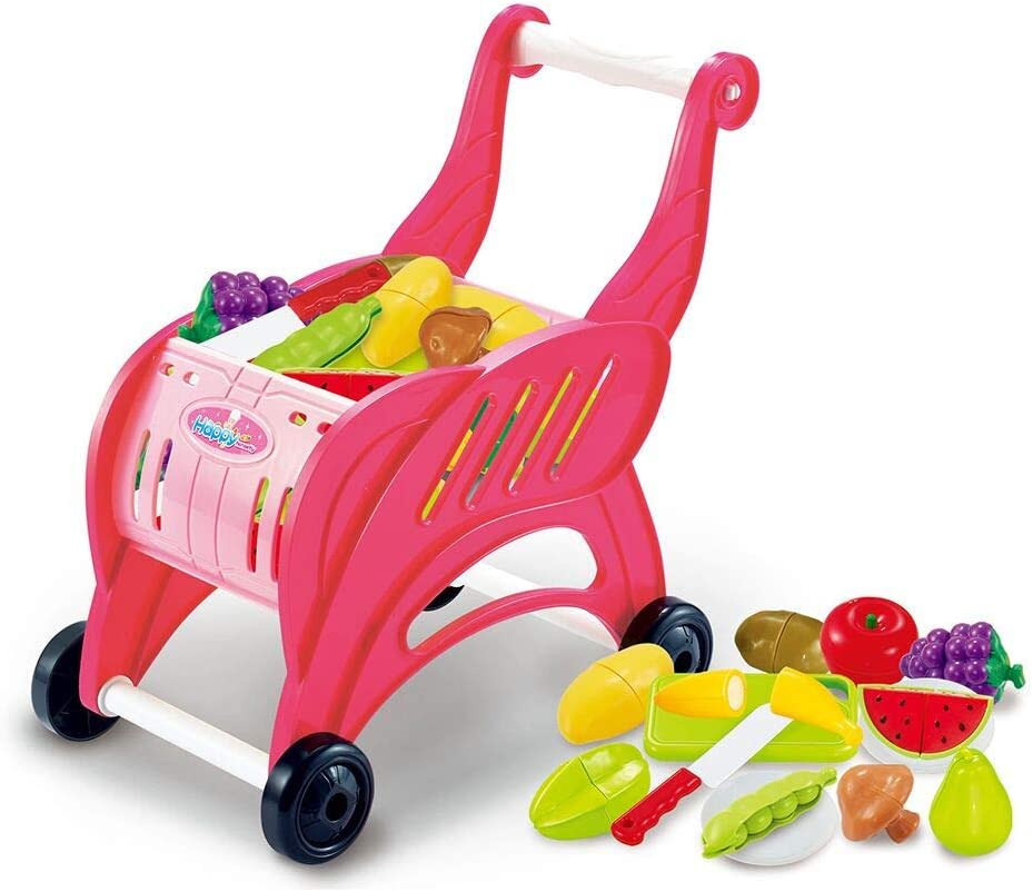Jeeke Simulation of Supermarket Shopping Cart Trolleys Toys Childrens Toy Car Preschool Educational Toy Great Gift for Girls Boys Toddlers Ship from USA