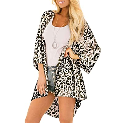 Women Lightweight Cardigan Leopard Printed Button Down Cardigans Coverup W Pockets(S-2XL at Women's Clothing store