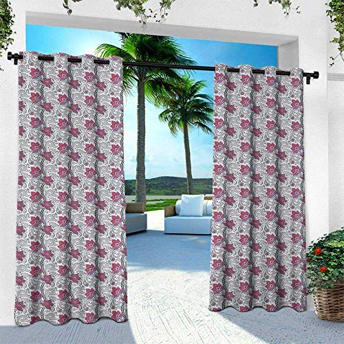 Hengshu Lotus, Thermal Insulated Water Repellent Drape for Balcony,Asian Pattern with Teardrop Shapes with Curves on Greyscale Backdrop, W120 x L84 Inch, Pale Grey Violet Vermilion