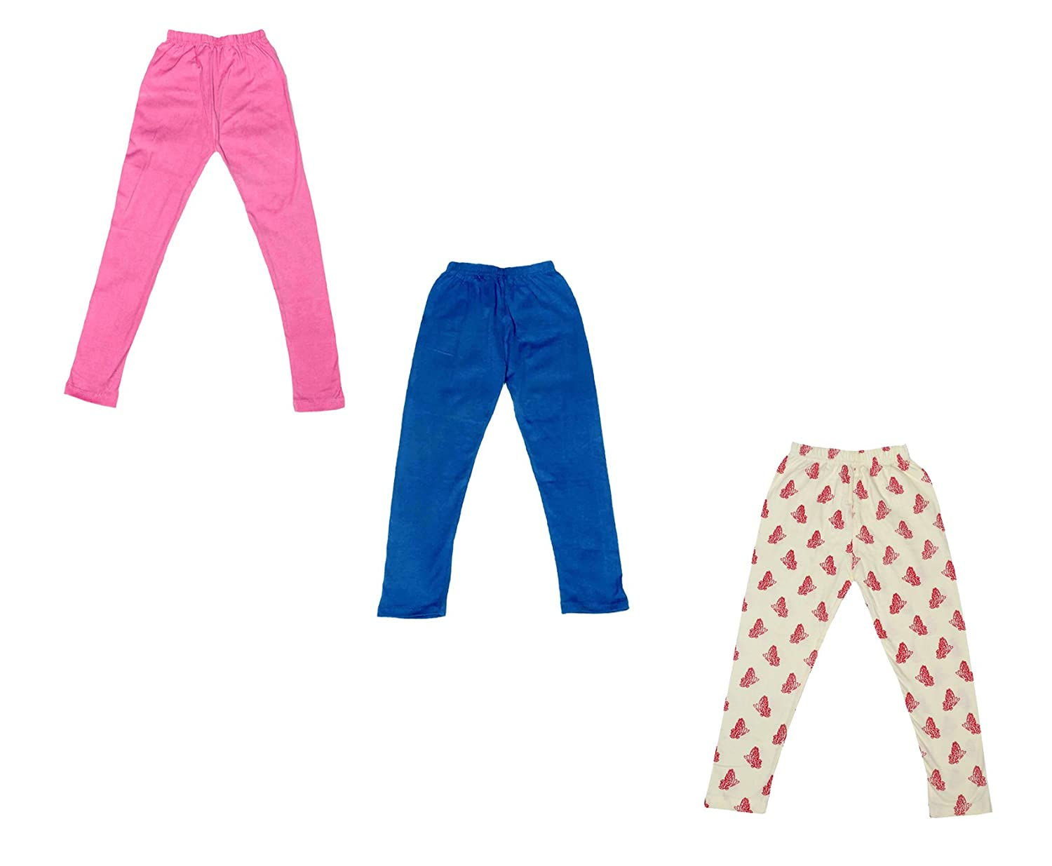 Indistar 2 Solid and 1 Printed Ankle Length Legging For Girls Pack of 3