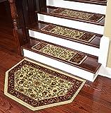 Dean Premium Carpet Stair Treads - Classic Keshan Antique 31'' W (Set of 15) Plus a Matching Landing Hearth Mat 27'' x 39'' (2x3)