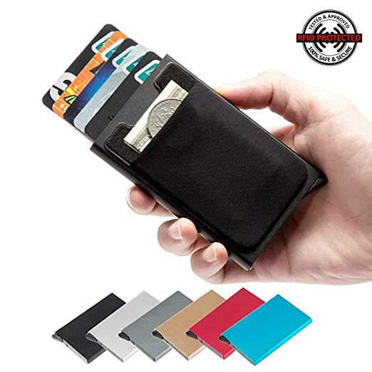 outlet store f0d10 c9609 Men & Women's Credit Card Holder Best Minimalist Wallet RFID Blocking with  Slim Elasticfront Pocket