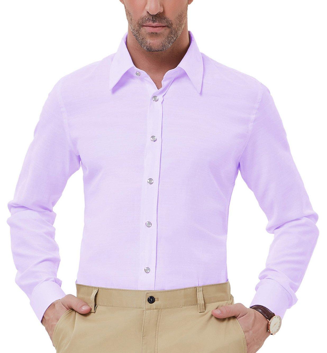 PAUL JONES Men's Slim Fit Longsleeve Dress Shirts for Summer, Purple