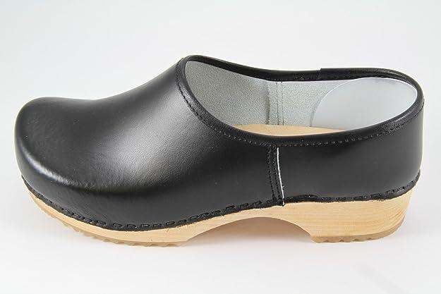 schwarz mit Naturholzsohle Danish Design Clogs