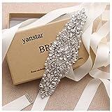 Yanstar Silver Crystal Beads Rhinestone Wedding Bridal Belt Sash With Cream Ribbon For Bridesmaid Wedding Party Porm Gown Dress