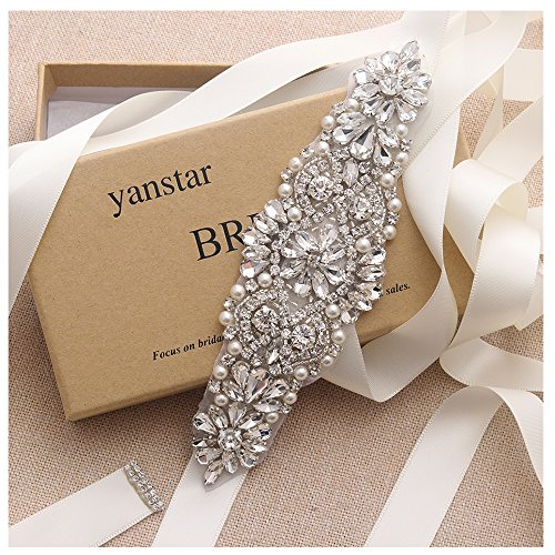Yanstar Silver Crystal Beads Rhinestone Wedding Bridal Belt Sash With Cream Ribbon For Bridesmaid Wedding Party Porm Gown Dress by yanstar