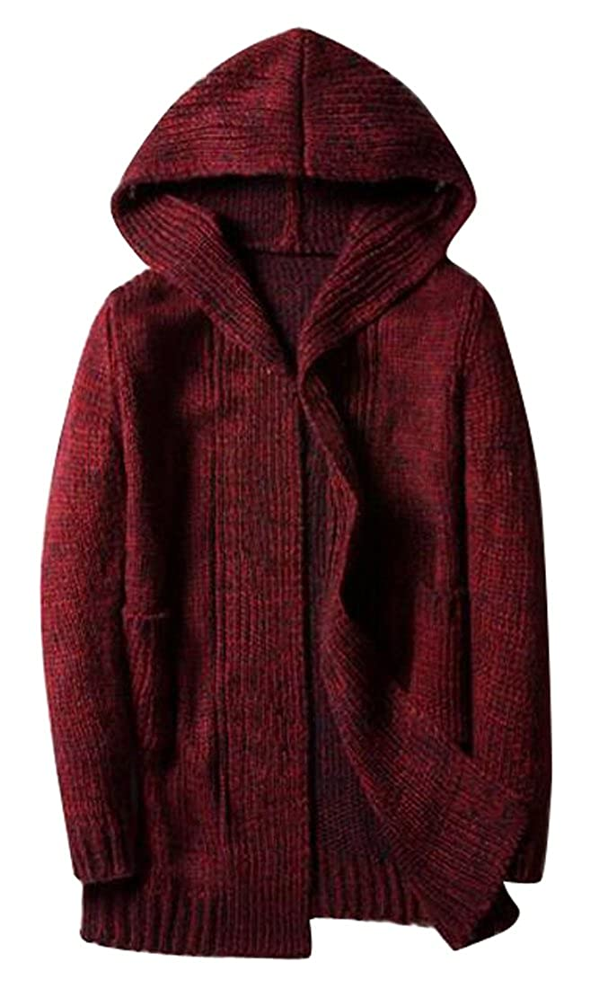 Fensajomon Mens Hooded Long Sleeve Casual Knitted Cardigan Sweater Jumper Red XL