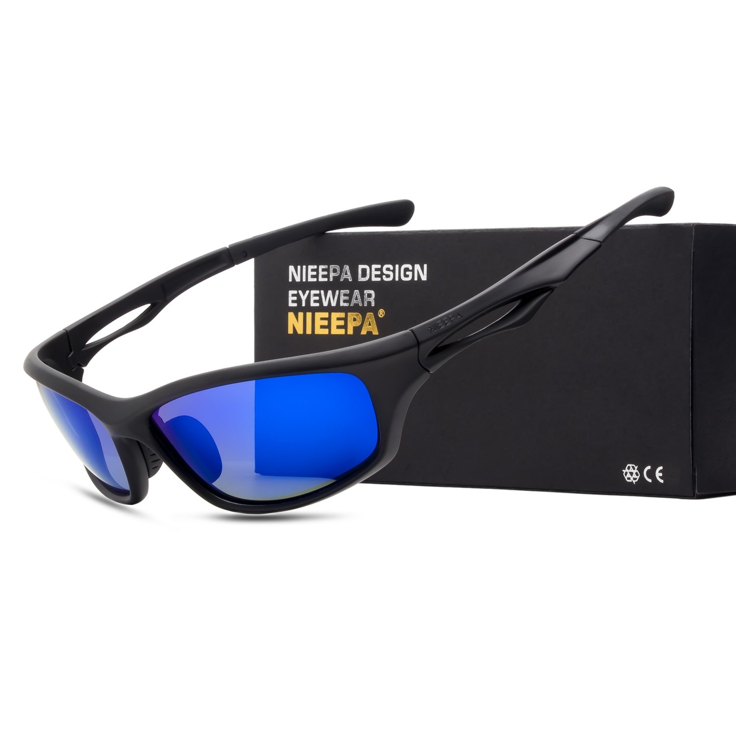 33cc01179e Amazon.com  NIEEPA Polarized Sports Sunglasses Tr90 Durable Frame Glasses  For Men Cycling Running Fishing Golf Baseball (Blue Lens Black Frame)   Sports   ...