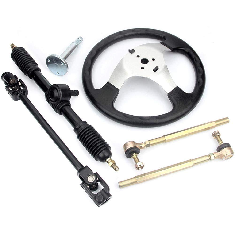 HITTIME 110cc Go Kart 300mm Steering Wheel 320mm Assembly Full Steel Gear Rack Pinion