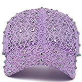 Lace Baseball Cap Adjustable Fashion Style With Rhinestone For Girl Women, Lavender