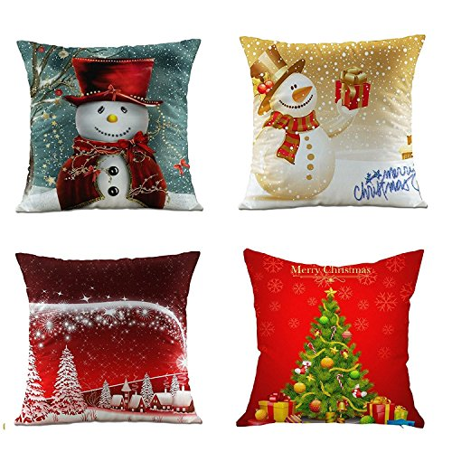 NATURALSHOW Merry Christmas Series Throw Pillow Case Decorative Cushion Cover Pillowcase Square 18in-Set of 4 (Pillow Christmas Merry Throw)