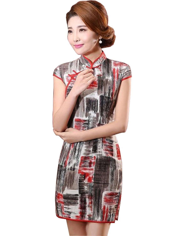 YL Women's Printed Pattern Chinese Qipao Mini Dress